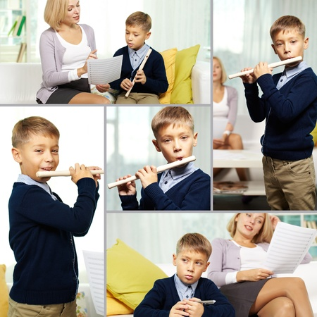 private schools: Collage of happy pupil playing the flute and his charming tutor