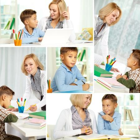 diligente: Collage del tutor escolar y muy diligente alumno hace en casa Foto de archivo