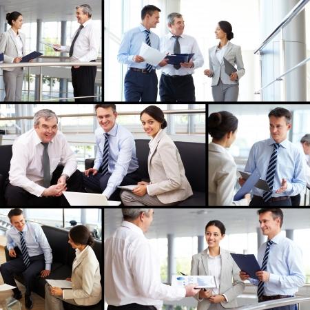 empleados trabajando: Collage de gente ocupada discutir nuevas ideas o planes de trabajo