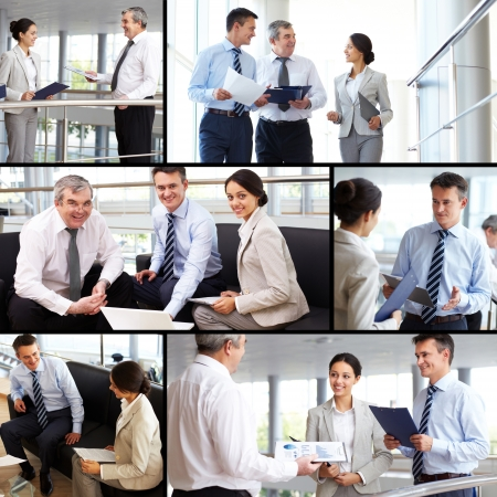 consulting team: Collage of busy people discussing new working plans or ideas Stock Photo