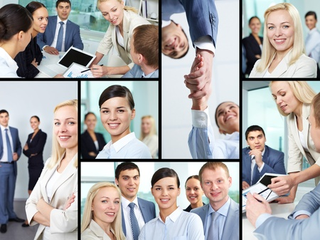 Collage of young business people looking at camera, working at meeting and handshaking photo
