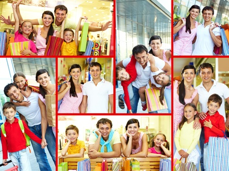 after shopping: Collage of joyful family and couple after shopping  Stock Photo