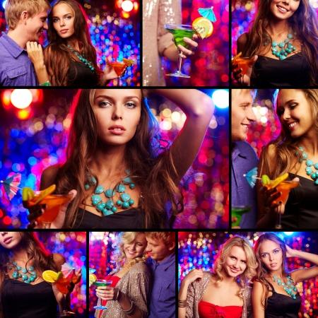 night club: Collage de amigos felices de haber partido en el club nocturno