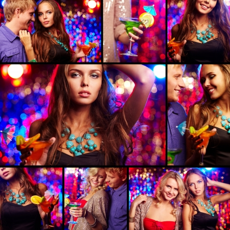Collage of happy friends having party in night club photo
