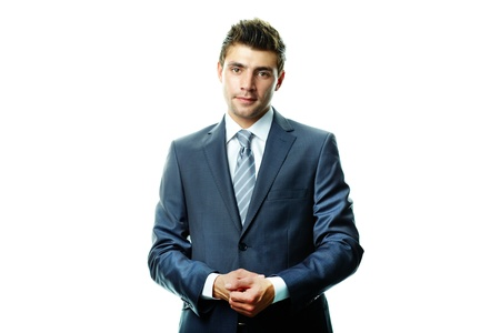 spokesperson: Portrait of attractive businessman in suit looking at camera