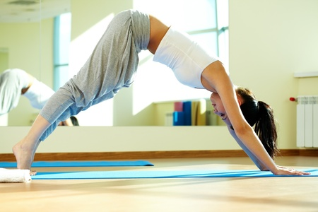 Portrait of young girl doing physical exercises in gym photo