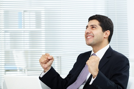 Portrait of attractive businessman expressing his triumph