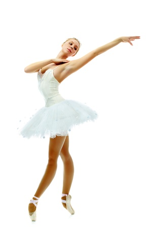 stretched: Portrait of charming ballerina dancing with stretched arm on white background Stock Photo