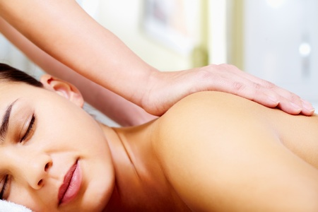 healthy body: Close-up of calm female taking pleasure during massage