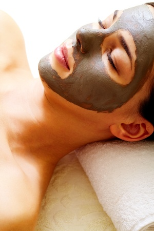 peeling: Relaxed girl having pore cleaning procedure in parlor Stock Photo