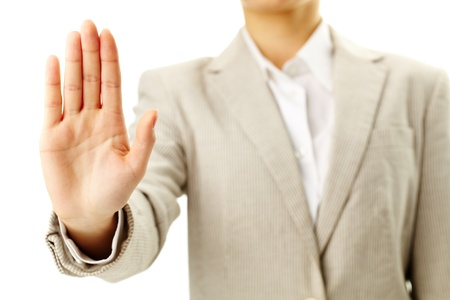 disapprove: Image of female hand showing sign of stop Stock Photo