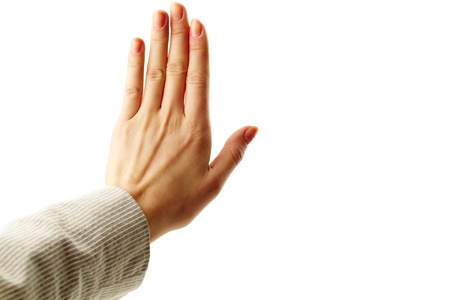 no idea: Image of female hand showing sign of stop Stock Photo