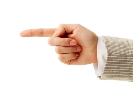 dictatorial: Foto della mano umana con l'indice che punta dritto