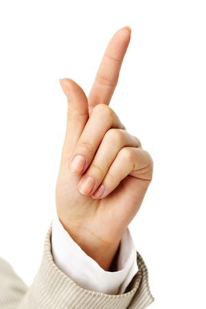 Photo of female hand with forefinger pointing upwards Stock Photo - 11425540