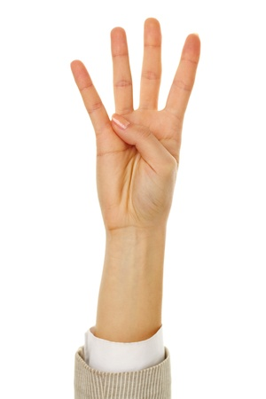 Image of female hand showing four fingers on a white background  photo