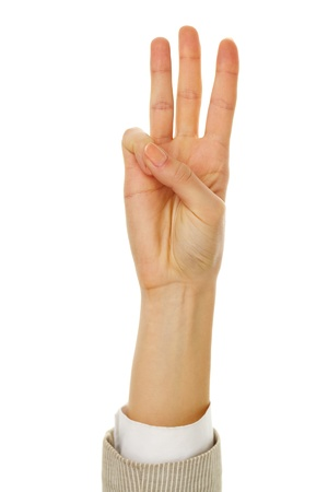 Image of female hand showing three fingers on a white background Stock Photo - 11425531