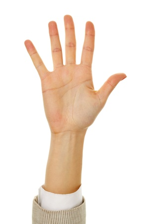 Image of female hand showing five fingers on a white background  photo