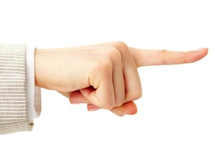 dedo �ndice: Foto de la mano del hombre con el dedo �ndice apuntando hacia Foto de archivo