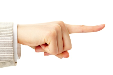 Photo of human hand with forefinger pointing straight  photo