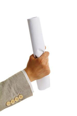 Image of female hand holding folded paper on a white background Stock Photo - 11425566