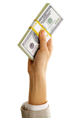 Image of female hand holding dollar bill on a white background  photo