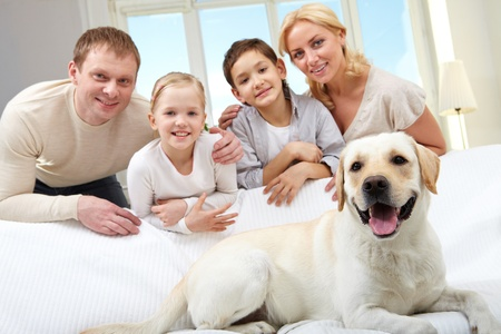 big family: A big dog lying on sofa, a family of four standing behind  Stock Photo