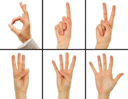comunicacion no verbal: Collage de la mano femenina que muestra los números de cero a cinco Foto de archivo