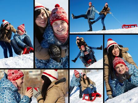 Collage of happy couple in warm clothes spending time outdoor in winter  photo