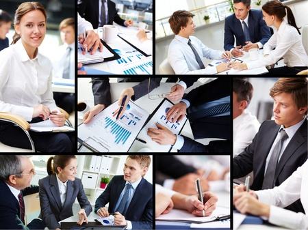 business collage: Business people discussing results of work