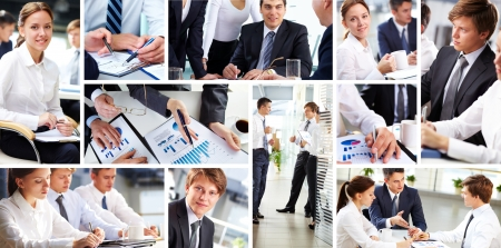 business consulting: Collage of busy people discussing work and studying