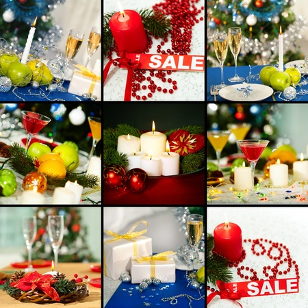 Collage of holiday objects on Christmas table Stock Photo - 11425831