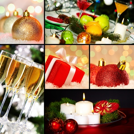 Collage of holiday objects on Christmas table photo