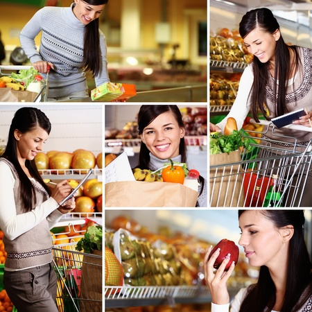 happy shopper: Collage of pretty woman choosing products in supermarket Stock Photo
