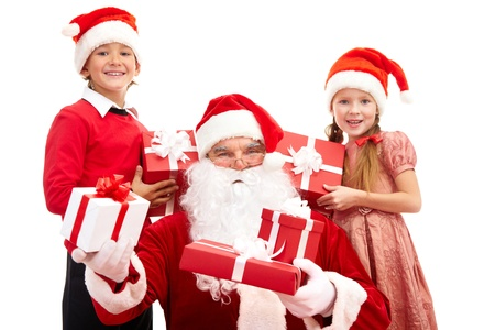 Image of Santa and happy kids holding Christmas gifts photo