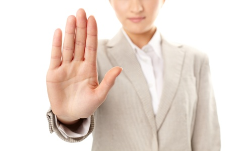 reproach: Image of female hand showing sign of stop Stock Photo