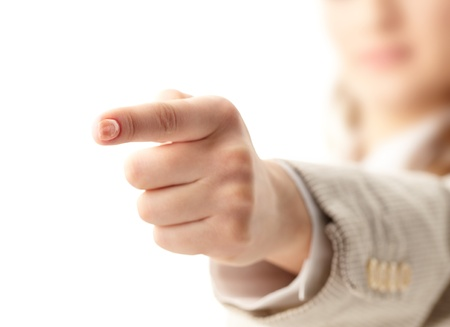 dictatorial: Photo of human hand with forefinger pointing straight