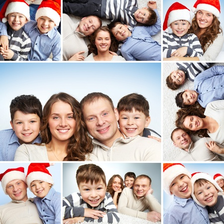 Collage of family of four looking at camera and smiling photo