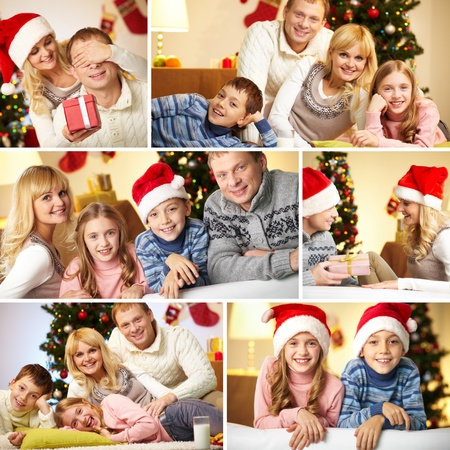 Collage of happy family members at home before Christmas Stock Photo - 11448583