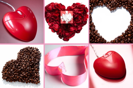 corazones: Collage of hearts made up of pink ribbon, rose petals, coffee beans and heart shaped computer mouse