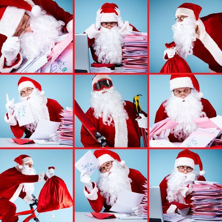 Collage of Santa Claus in front of Christmas letters, with sack and skis Stock Photo - 11448590