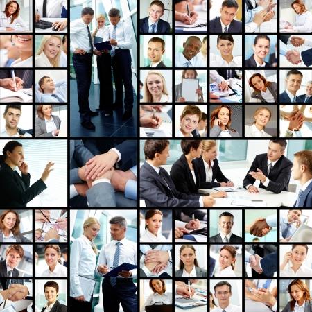 personas comunicandose: Collage de los hombres de negocios exitosos en el trabajo Foto de archivo