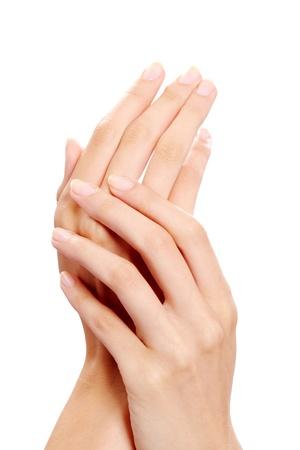 Image of female manicured hands on white background Stock Photo