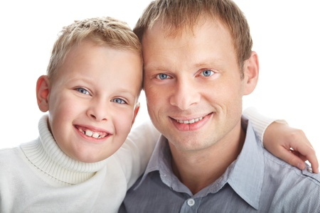 Portrait of happy father and son looking at camera Stock Photo - 11621928