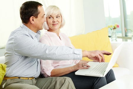 Portrait of mature man and his wife working with laptop at home Stock Photo - 11622387