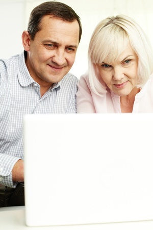 Portrait of mature man and his wife working with laptop at home Stock Photo - 11622367