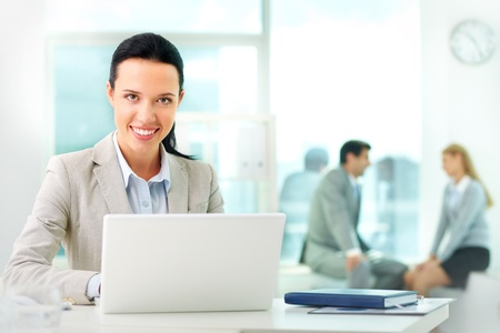 Portrait of pretty secretary looking at camera while working Stock Photo - 11633987
