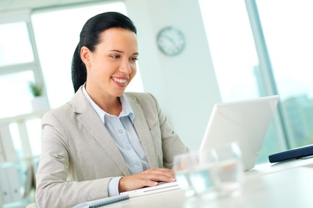 Portrait of pretty secretary looking at laptop screen while working Stock Photo - 11633998