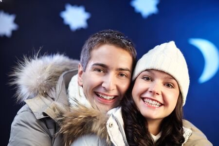 Portrait of happy couple looking at camera with laughter Stock Photo - 11640889
