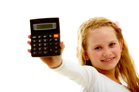 Portrait of happy girl with calculator looking at camera isolated on white background    photo