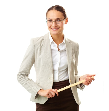 business attire teacher: Portrait of smiling teacher looking at camera in isolation